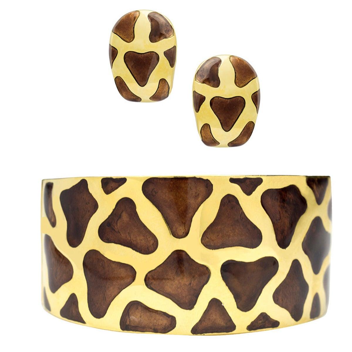 Roberto Coin Enamel Gold Giraffe Motif Bracelet And Earrings Set 1