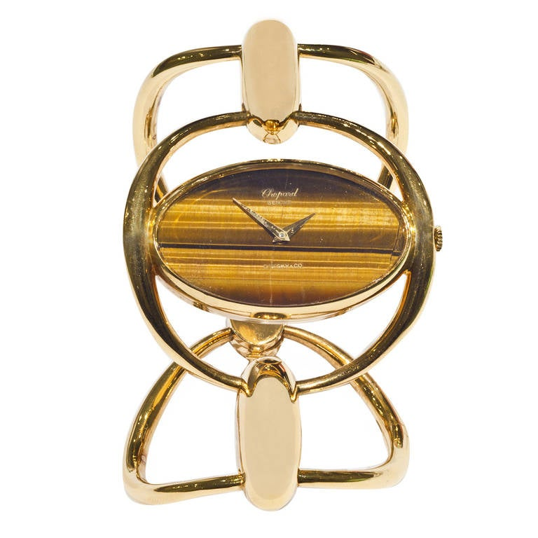 Chopard Lady's Yellow Gold Bracelet Watch with Tiger's Eye Dial circa 1975
