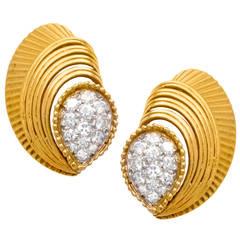 Cartier Paris Diamond Gold Earrings