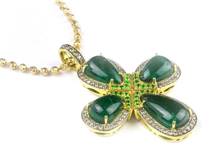 Women's or Men's Emerald Cabochon, Tsavorite Garnet and Colored Diamond Cross Necklace For Sale