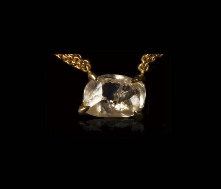 Contemporary 4.19 Carat Rough White Diamond Pendant Necklace For Sale