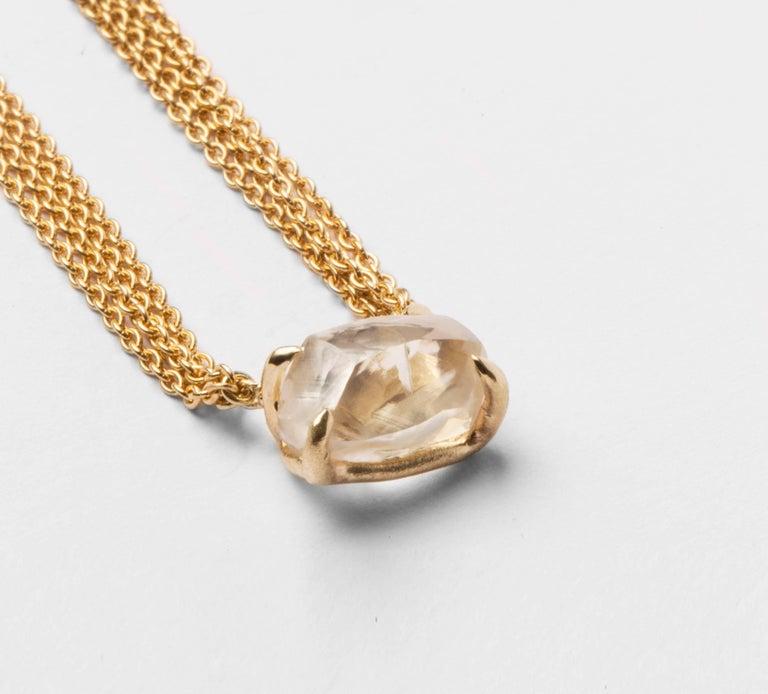 4.19 Carat Rough White Diamond Pendant Necklace In As New Condition For Sale In Copenhagen, DK