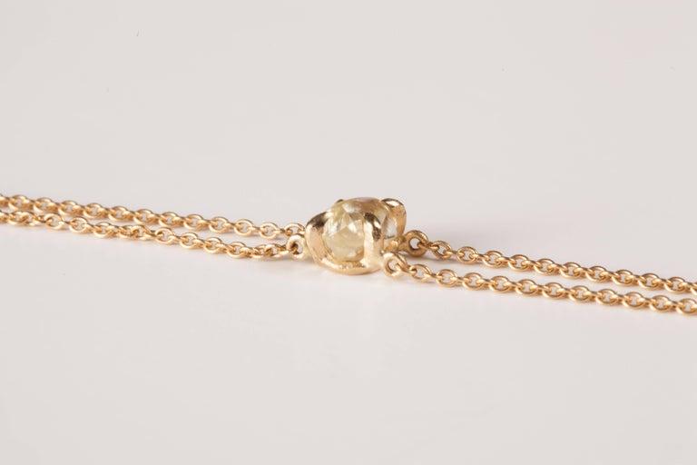 Contemporary 0.91 Carat Rough White Diamond Gold Chain Bracelet For Sale