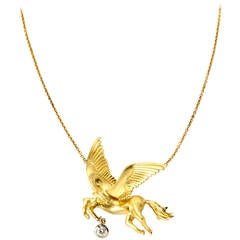 Stambolian Diamond Gold Pegasus Necklace