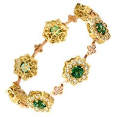 Stambolian Tourmaline Diamond Gold Bracelet
