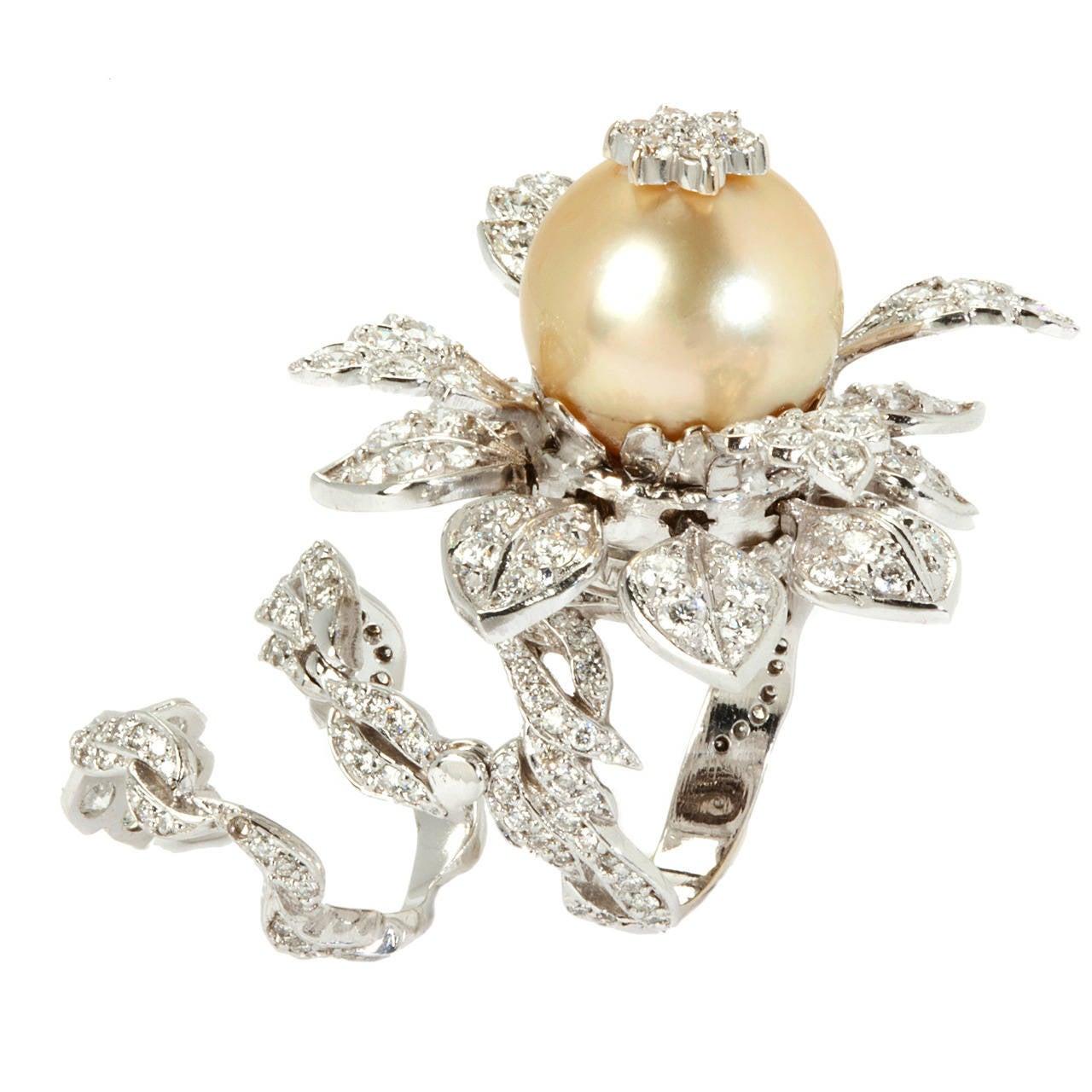 stambolian pearl diamond gold tremble ring at 1stdibs. Black Bedroom Furniture Sets. Home Design Ideas