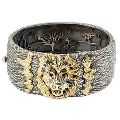 Stambolian Silver Gold Men's Lion Bracelet