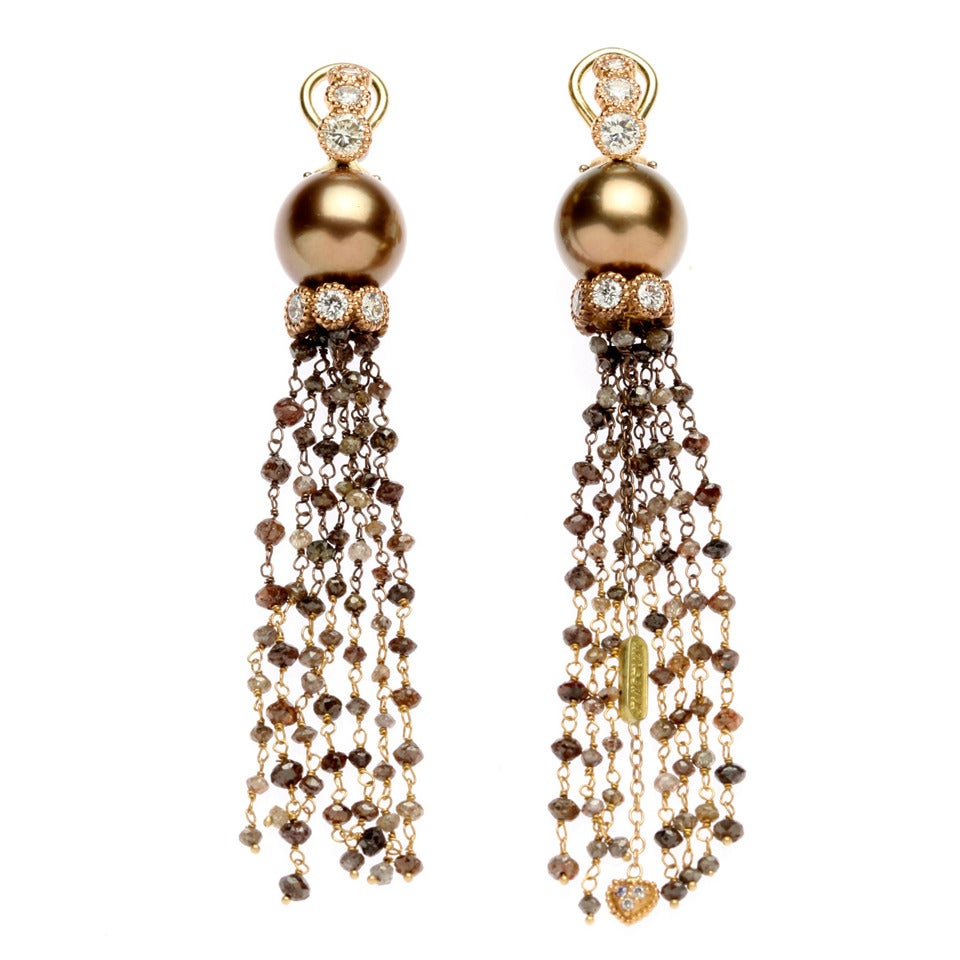 stambolian chocolate pearl gold drop earrings for