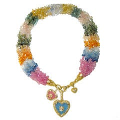 Multicolor Sapphire Bead Necklace with Two Frosted Quartz Gold Hearts