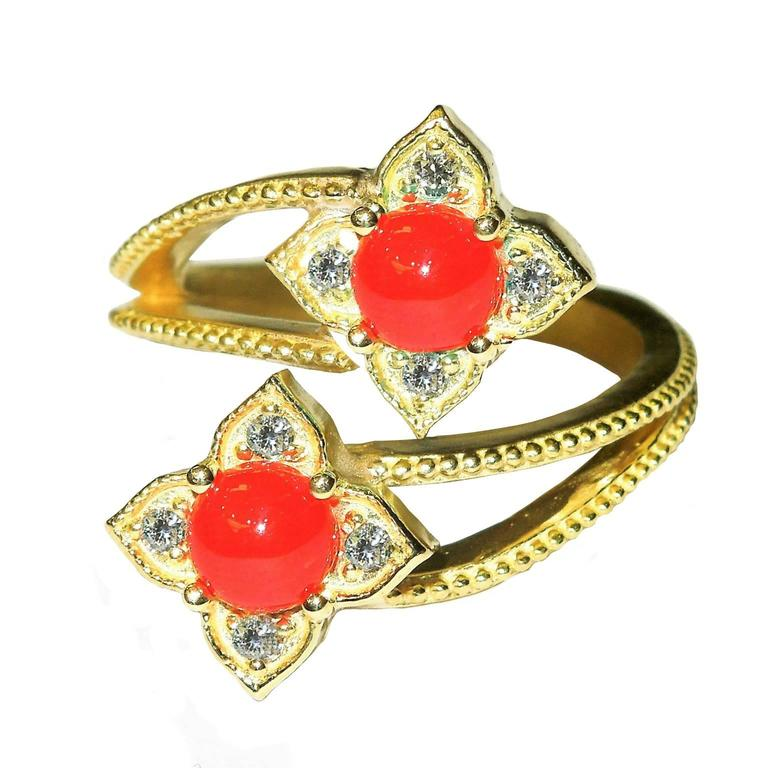 Stambolian Coral Diamond Gold Ring For Sale At 1stdibs