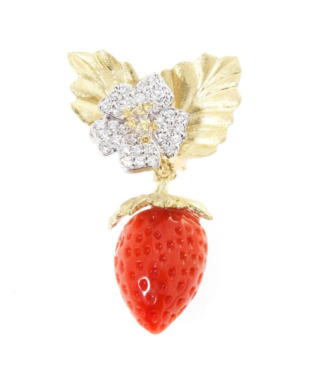 ONE OF A KIND Estate Strawberry Coral 18K Gold and Diamond earrings by Stambolian  Corals are special-cut strawberries, done by hand. They look extremely real.  Above the corals are our floral design-works, done with yellow and white