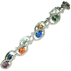 Multicolor Sapphire Diamond Gold Bracelet