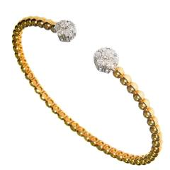 Diamond Cluster Gold Flexible Bracelet