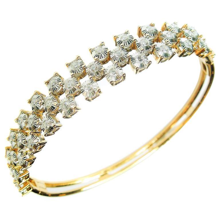 Diamond Pink and White Gold Bangle Bracelet