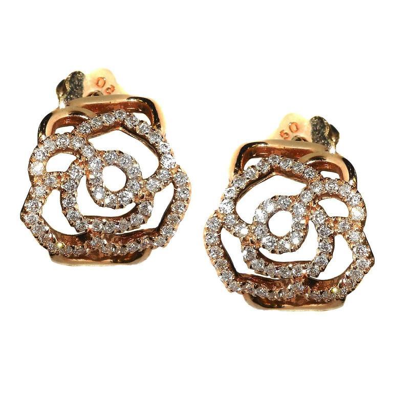 Diamond Pink Gold Cluster Earrings
