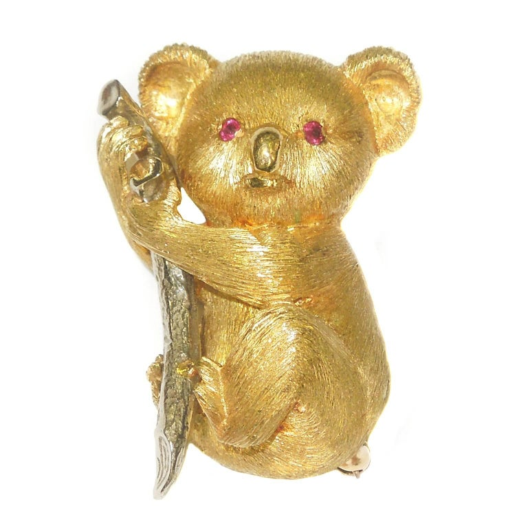 Gold Teddy Bear Brooch