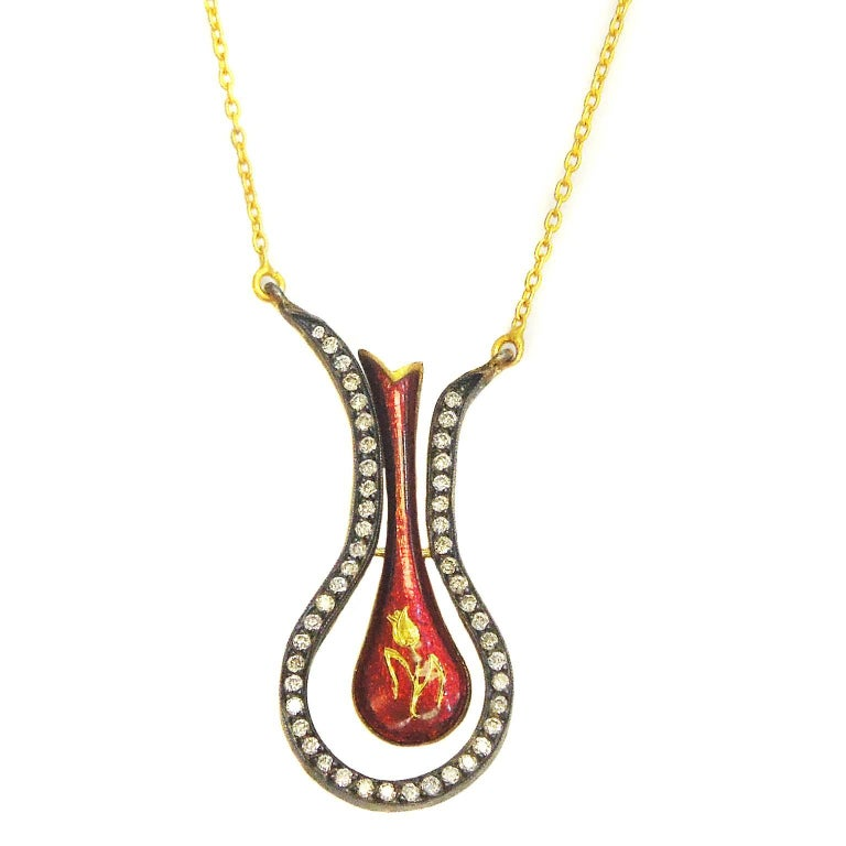 Gold and Diamond Pendant with Red Enamel