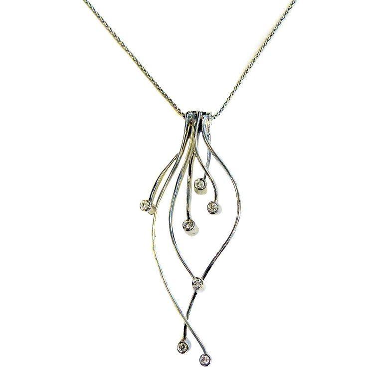 White Gold and Diamond Drop Pendant Necklace