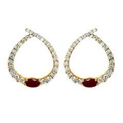 Diamond Ruby Gold Earrings