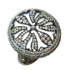White Agate Diamond Gold Ring