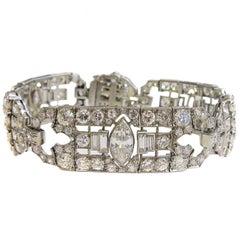 Platinum Art Deco Bracelet with Marquis and Round Diamonds