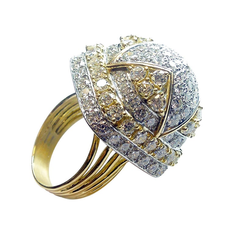 gold and platinum cluster ring for sale at 1stdibs