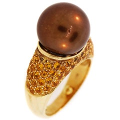 Gorgeous Brown Pearl and Yellow Sapphire Gold Ring