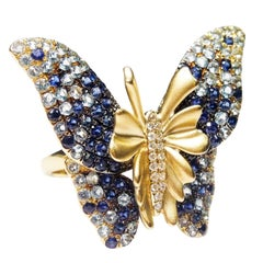 Sapphire Diamond Gold Butterfly Ring