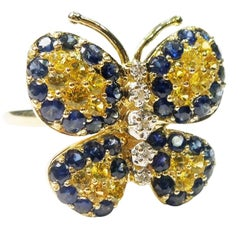 Blue and Yellow Sapphire Diamond Gold Butterfly Ring