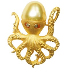 South Sea Pearl Octopus Pendant and Brooch