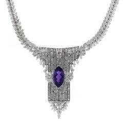 55 Carat Diamond and Amethyst Necklace