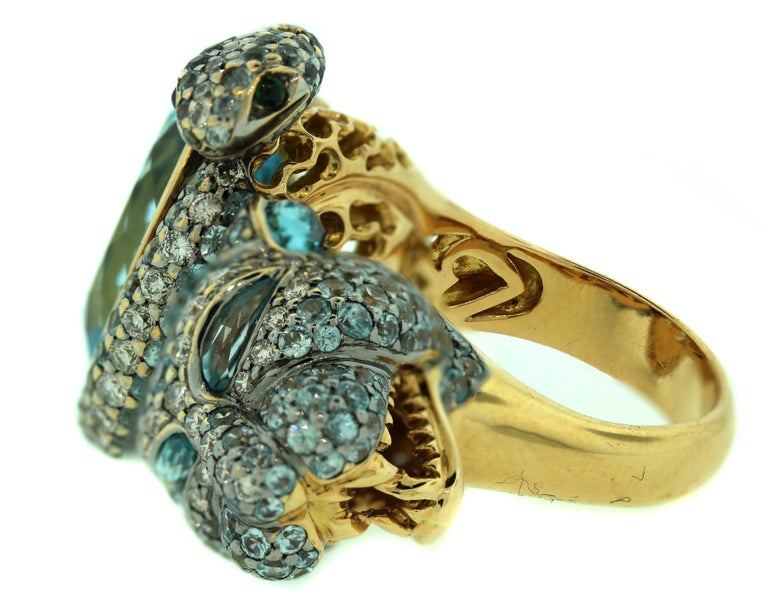 Oval Cut Zorab Aqumarine Sapphire Diamond Gold Ring For Sale