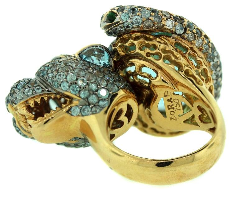 Zorab Aqumarine Sapphire Diamond Gold Ring In Excellent Condition For Sale In Boca Raton, FL