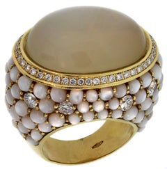 Inbar Brown and White Moonstone Diamond Yellow Gold Ring