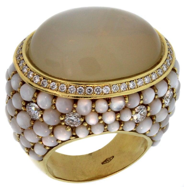 Inbar Brown and White Moonstone Diamond Yellow Gold Ring