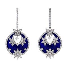 Stambolian Cobalt Blue Enamel Floral and Butterfly Diamond Drop Earrings