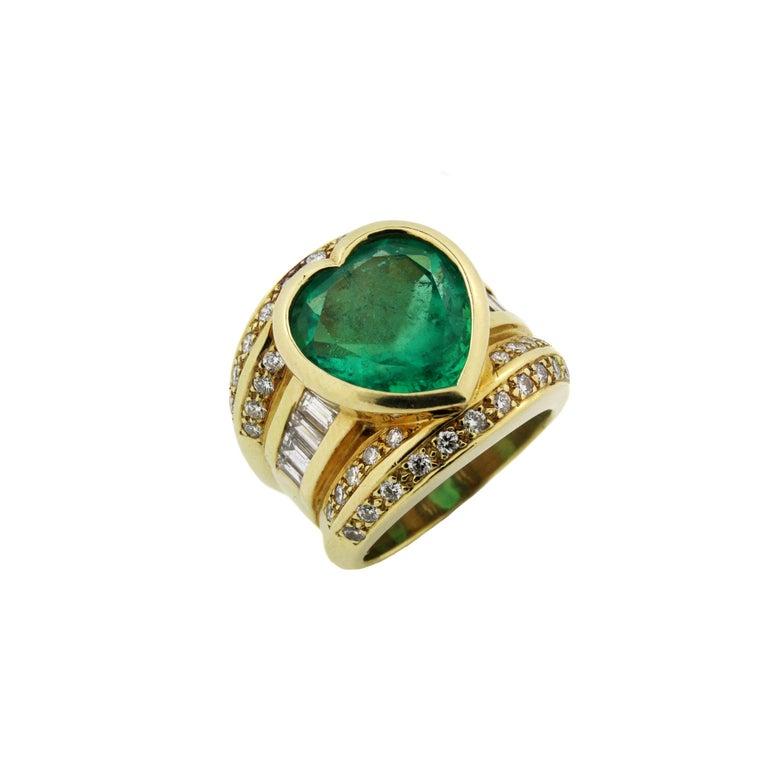 10 Carat Heart Shape Emerald Yellow Gold and Diamond Ring