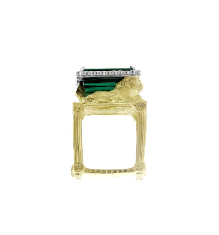 IF YOU ARE REALLY INTERESTED, CONTACT US WITH ANY REASONABLE OFFER. WE WILL TRY OUR BEST TO MAKE YOU HAPPY!  18K Yellow Gold Ring with Green Tourmaline Center surrounded by Diamonds and Two Lions   Center Green Tourmaline 9.42ct.  0.86ct. G Color,