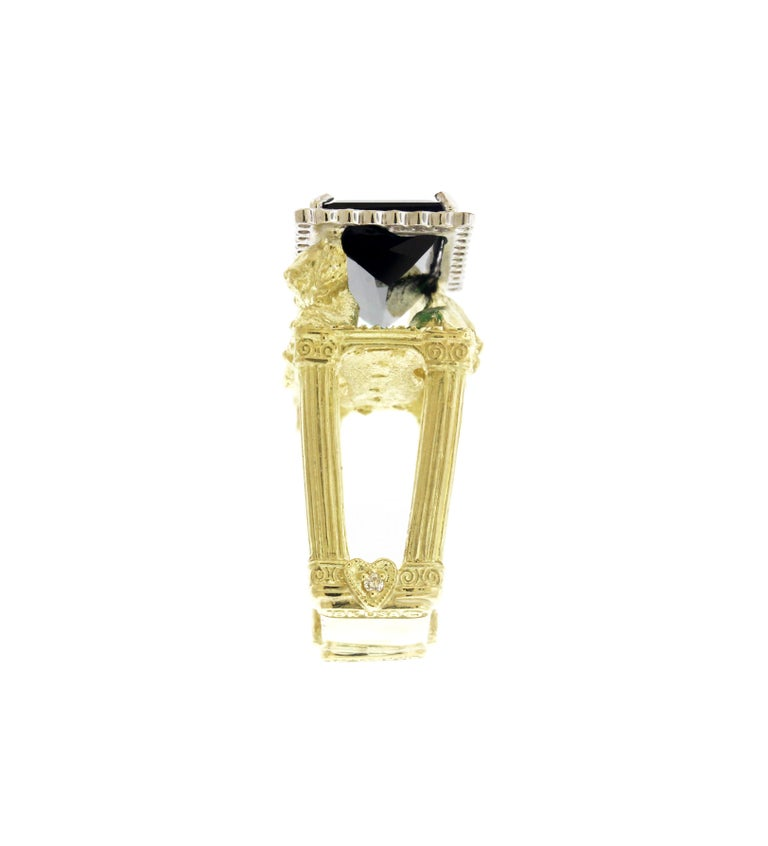 Women's Green Tourmaline and Diamond Lion Cocktail Ring Yellow Gold Stambolian For Sale