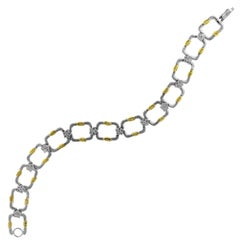Two-Tone Bracelet Yellow and White Gold with Diamonds Stambolian