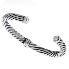 David Yurman Sterling Silver and White Gold Cuff Bracelet