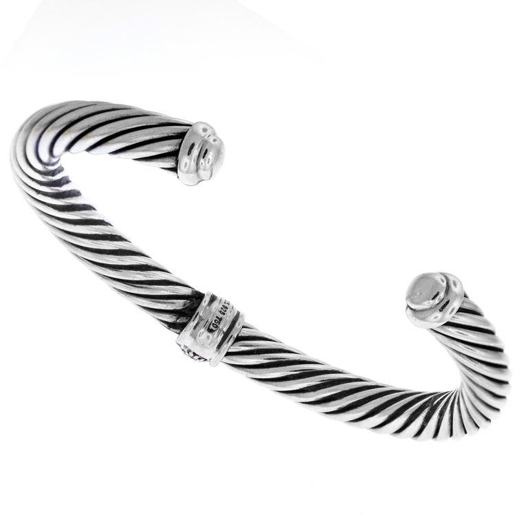 f6dfc91bdcb07b David Yurman Sterling Silver and White Gold Cuff Bracelet For Sale ...