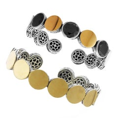 John Hardy Sterling Silver and Yellow Gold Black Spinel Cuff Bracelet Set