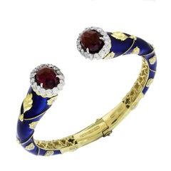 Stambolian Cobalt Blue Enamel Magenta Garnet Diamond Gold Bangle Bracelet