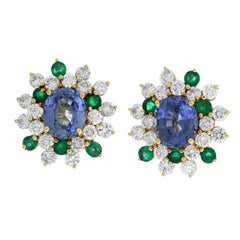 Green and Blue Sapphire Yellow Gold Diamond Stud Earrings