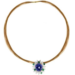 AGL Certified Oval Blue and Green Sapphire Diamond Pendant Necklace