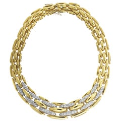 Yellow Gold and Diamond Link Chain Necklace