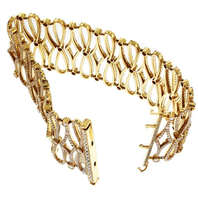 04c6d7051 18K Rose Gold and Diamond Multi-Row Wide Link Bracelet 10.94 carat G color,