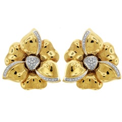 Floral Yellow and White Gold Diamond Flower Stud Earrings