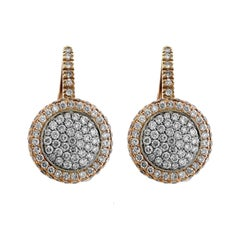 Rose and White Two-Tone Gold Pavé Set Diamond Round Drop Earrings